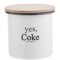 Keep your pantry essentials organized and fresh in Coca-Cola® enamel collection™ small kitchen canister with wood lid. The creamy white enamel with black rim and wood lid is the perfect combination to show off your Coca-Cola® style.