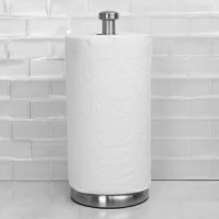 Tired of paper towel holders that won't stay put? Consider adding this heavy-duty paper holder that offers a clean tear of paper towels without wobbling over. This no-fuss free standing paper towel holder packs a contemporary punch with its brushed satin nickel finish that matches perfectly with a variety of kitchen fixtures. With a weighted based easily grab a roll on the go and never worry about it tipping over or unraveling in the process. The wide footprint also offers an additional layer...