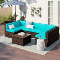 Whether hosting a backyard barbecue under the summer sun or casually catching with close friends over coffee on the patio, this seven-piece sectional set is a must-have for your abode. Setting the stage for your outdoor ensemble, it features one tempered glass table, four single sofa chairs, two corner chairs, and polyester cushions for added comfort. Each piece is constructed from wicker rattan and designed to stand up to sunshine beating down and rainstorms rolling through.