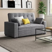 A multi-purpose addition to your living room or guest suite, this convertible sleeper sofa goes from day to night in an instant. Its solid wood frame is wrapped in microfiber upholstery for an inviting look that's also stain- and fade-resistant, while button-tufted details introduce a hint of classic charm. Foam fill, springs, and a pair of throw pillows round out the look and feel of this essential item. In case of any unexpected guests, this sofa easily turns into a bed.