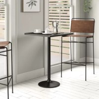Need a spot to enjoy some cocktails after work with a friend? Or maybe you're hosting a romantic dinner for two? Either way, this pub table is the perfect pick. Crafted from manufactured wood and metal, it showcases a square tabletop perched aloft a metal pedestal base. Its solid black tone blends effortlessly with your existing color scheme, while also helping make this table right at home in any contemporary setting.