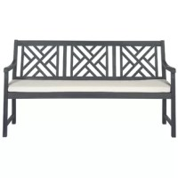 Lend a touch of casual elegance to your outdoor ensemble with this beautiful garden bench. The perfect finishing touch for any aesthetic, it is crafted from acacia wood and features a polyester fabric seat cushion. This lovely 3-seat garden bench also showcases a traditional silhouette, openwork design, and neutral finish for a cottage-inspired look. Try setting it on your front porch for the perfect place to enjoy after-work drinks with a friend or finish your latest read. Then, pair it with a...