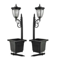 This item brings multifunctional style to your outdoor decor. The lamp post is constructed of plastic. Single headlamp bright white and warm white high output LED's, that automatically turns on at dusk, and off at dawn. Plant your favorite flowers in the bottom planter when in lamp post configuration, convert it to a stake light, or to a wall mount lantern.