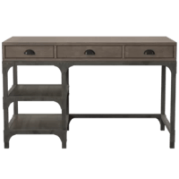 Tackle your daily to-do list and lend rustic appeal to your home office with this writing desk! Crafted from manufactured wood, it's founded atop a metal base with an antique silver finish, complemented by a weathered oak desktop. Rivet details add a hint of industrial charm. Two open shelves down below make a perfect perch for decorative accents or storage baskets, while three drawers up top make room for writing must-haves, such as pens and paper.