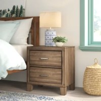 Lend your teen's space both storage and style with this essential nightstand. It stands atop slightly tapered legs and features an overall streamlined silhouette accented by molded details for a classic look. Bar pulls front each of the two drawers. They open to reveal plenty of space to tuck away small-scale items that your teen wants close by but out of sight.
