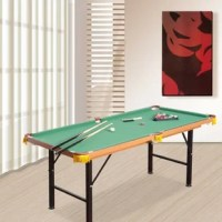 Do you love playing pool but don't have space for a full-size table? This 2.1' Pool Table will give you all of the fun of a real pool table without taking up all of your living room space. This Folding Miniature Billiards Pool Table is made of the same materials as an authentic table with its fleece top to help the balls roll smoothly. The cushions attached to the edges help the balls ricochet so you can find the perfect shot just like the pros. When you don't feel like using the table, the...