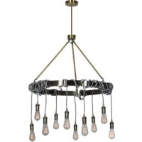 The classic chandelier gets an industrial modern twist in this ceiling fixture. A myriad of incandescent bulbs, pale grey wiring, and an on-trend antique brass finish this piece brings light and style to a contemporary space.