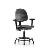 These polyurethane chairs adjust to fit most body types and workstations. Optional 6 way adjustable arm rests support a variety of arm placements for proper ergonomics. These polyurethane chairs are easily cleaned, making them ideal for almost any environment. These desk height chairs feature a powder-coated steel base with fixed foot ring. Optional casters and add height to the chair. Optional seat tilt provides 8 forward and 3 backward locking tilt for ergonomic posture support.