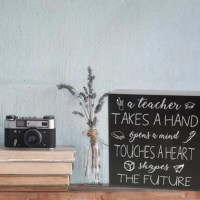 Give this wall decor with inspirational words to that special teacher who has always believed in, motivated and inspired you. Artfully printed on the wood, it is great to decorate a home, apartment, office or classroom. Display anywhere on a shelf, mantel or counter, this box sign can also be hung on a wall. Makes a cute teacher's appreciation gift, graduation or Christmas gift. A home decor sign that will display beautifully in any room.
