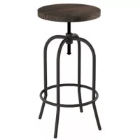 The rounded metal frame and real elm seat of this bar stool create a stylish look that's sure to complement both vintage farmhouse and modern industrial decor in any home! The bar stool can be adapted to fit counter or bar heights. Constructed from sturdy iron and wood, a locking bolt on the seat, and has plastic feet to protect your floors. It's a fantastic piece of functional accent furniture that will add a unique touch to your kitchen, dining room, or bar!