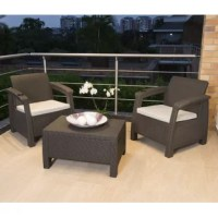 The seating group is a fashionable 3-piece patio set finished in a rich polypropylene (PP) resin material with an attractive Rattan® look. It is lightweight yet rugged with a sleek design. This patio perfect set is UV-protected, weather-resistant and will not fade or fray. This set features two single-seat armchairs and a coffee table. It is designed to give your home a unique and modern touch in any area and is ideal for outdoors. It is easily maintained with a quick soap & water wipe down to...