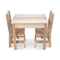 Pull one of the two durable chairs up to the child-size table--they're sized just right for kids, but strong enough to hold moms and dads too! This hardwood table-and-chairs set has a timeless natural finish that fits with any home décor and wipes clean to stay looking crisp and clean. The three wooden pieces are simple to construct with just a Philips-head screwdriver, and incredibly sturdy once assembled. Top the table with a child's favorite puzzles or use it for arts and crafts, tea...