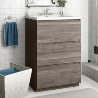 Arguably, the vanity is the most important part of your bathroom – it gives you a place to brush your teeth and prepare for the day, after all! This design, crafted from manufactured wood, has the bonus of a streamlined silhouette and wood grain veneers that pair well with contemporary spaces. Three drawers give you room to tuck away toiletries and linens, while the integrated, acrylic sink features a pre-drilled hole to make installing the faucet of your choice a breeze.