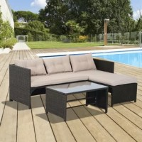 Brighten your backyard and make the exterior of your home just as inviting as the inside. This Outsunny 3 piece cushioned rattan sofa is made of strong steel frame with all-weather PE rattan wicker. Excellent lounging choice for your terrace, patio, porch, poolside, or garden area. Decorative and functional, they create an inviting setting that you and your family will want to use all throughout the year. NOTE: The chaise lounger is not reversible, and must be installed as shown in the photo.