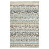 Create bold, beachy impact with the Sand Dune Hand Woven Ivory/Light Blue Area Rug featuring intricate weaving techniques to create textural stripes of boucle, herringbone, braid, and cording. They love its seaworthy shades of warm and cool neutrals.