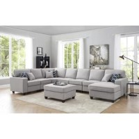 Seat all your friends and family comfortably with this modular sectional sofa. The modular pieces can be arranged in whatever shape works best for your space to best meet your needs. The seat is firm enough to be supportive while still comfortable, and the back cushion is softer and comfortably angled slightly back.