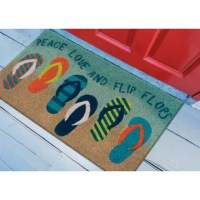 This flip flops doormat will add a fun, coastal vibe to your doorstep. This coir utility mat is both stylish and practical. A natural coir doormat is durable and beautiful. Crafted from 100% coir which is an all-natural material known for its strength. Coir is eco-friendly, made from natural fibers which are extracted from the outer shell of a coconut known for its strength and durability. Natural coir mat features a durable vinyl back and a stiff, durable natural coir front perfect for wiping...
