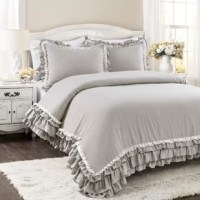 This comforter set will add a touch of feminine style to any bedroom or dorm room. The lace trim and layers of ruffles add flair to an otherwise minimalist look that can also fit into the farmhouse.