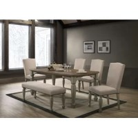 This dining set is crafted from durable hardwoods, engineered wood, and oak veneer, so it's sturdy as well as visually alluring. A two-tone finish includes antique gray and dark oak hues that contrast perfectly for added flair. Elegant carved wood legs and frame enhance this set's artisan-worthy craftsmanship.