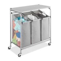 This ironing board features 3 removable sorter bags with breathable mesh sides. Each bag lifts out of the frame for transportation to the laundry room with presorted clothes. The folding table option is included to offer the perfect flat space for folding, stacking, or ironing. The silver epoxy coated metal frame comes with heavy duty wheels for convenient mobility, while 2 wheels feature an intuitive lock option.