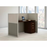 Bush Business Furniture delivers a quick, open office solution with this desk with 3 drawers mobile file cabinet in mocha cherry. The thermally fused laminate work surface features superior resistance to scratches and stains while providing a wire management grommet to keep cords organized. The desk attaches to sturdy, wall panels. Attractive hardboard panels come in a durable light gray and storm gray two-toned fabric that complements the rich warmth of the mocha cherry work surface. Includes...