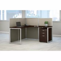 A contemporary design built with flexibility. Bush Business Furniture's desk with mobile file cabinet offers a thermally fused laminate work surface with superior resistance to scratches and stains. The L shaped desk provides a versatile right or left handed position for user comfort with a return which expands the work area. Desk and return attach to sturdy, low wall panels for open collaboration. Upholstered panels come in a durable light gray and storm gray two-toned fabric that complements...