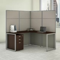 Enjoy a private, productive workspace designed with quality and convenience in mind. This  cubicle desk with file cabinet and panels offers a simple configuration that can be set up quickly, yet is durable enough to withstand the rigors of everyday use in a fast-paced professional environment. The office desk and return connect to form a spacious right or left handed work surface with built-in wire management to keep cords and cables out of the way. The 1