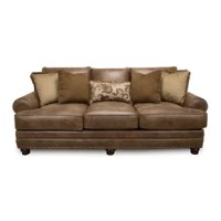 Spacious and comfy, this rustic design is perfect for relaxing and unwinding or entertaining your guests. This sofa is crafted in the United States, featuring rolled arms, patina brass bulleting, and reversible cushions- making cleaning (and searching for that lost remote) quick and easy.