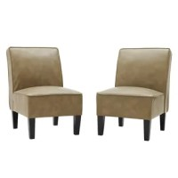 Ferebee Side Chair includes 2 transitional design armless chairs. These armless chairs feature a curved square back design. Ideal for small spaces, these armless chairs work great in offices, bedrooms or living rooms. Takes less than 10 minutes to assemble each chair.