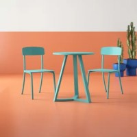 Bring a burst of color to your outdoor space with this retro-modern three-piece bistro set – perfectly-sized for petite patios, decks, and balconies alike. Crafted of iron in a weather-resistant matte finish, the table features a round tabletop and a streamlined tripod base, while both chair include a contoured backrest, a square seat, and four tubular legs. Measuring 27.75