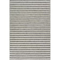 Area rugs help set the tone for your space's style – and with this rug, that can include outdoor spaces as well! Crafted in Turkey from polypropylene, this rug is designed to be used both indoors and out, making it ideal for anchoring either your living room or patio space. Plus, thanks to its striped charcoal and ivory pattern, it's perfect for adding a versatile, neutral accent to your floors. And with a low 0.01'' pile height, this rug is both easy to clean and great for high traffic areas.