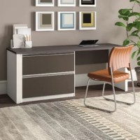 This is a contemporary and durable collection that features a wide variety of configuration options that will adapt to your specific needs. The oversized pedestal offers two file drawers with letter/legal filing system. Drawers on ball-bearing slides for smooth and quiet operation.