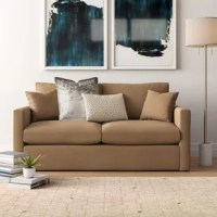 Bring clean-lined style and neutral appeal to any ensemble with this effortlessly stylish sleeper sofa, the perfect piece for an understated aesthetic. It is a metal frame that features a streamlined silhouette suited for a variety of decor styles, while fade- and stain-resistant polyester upholstery completes the look. A pair of toss pillows help up the comfort factor. Got a few unexpected guests? This sofa converts into a sleeper in no time at all.