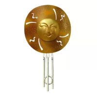 Smiling moon wind chime with the magical look of the galaxy. This wind chime only plays during the day, is silent at night. Securely attaches to the window with two quality suction cups. Silvery face framed with dappled blue and purple.