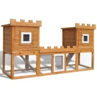 This quality 2 layer hutch provides a large cozy place for keeping small animals, especially cute rabbits. It features multiple uses: playing, exercising, training, or simply keeping your pets safe. This rabbit hutch provides your pets with plenty of exercise space while the tight iron wire mesh helps prevent unexpected accidents. Meanwhile, the construction of the iron wire grid ensures you monitor the pets. The rabbit hutch is built with a high-quality pine wood frame, which ensures long-term...