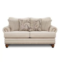 An updated take on a traditional design, this Bridgewater-style loveseat adds a perfect touch of class to any living room setting. With a sturdy hardwood and engineered wood frame, the Sauer XX-inch loveseat is sure to be a staple in your home. Bulky nailhead trim on the rolled arms creates the perfect sense of style. Rolled arms and solid, mahogany 4-inch wooden legs complete the look. Ultra-comfortable, removable and reversible foam-filled cushions create a clean line design. Complete the...