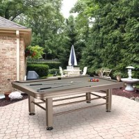A great addition to your outdoor oasis. This is a regulation 8-foot pool table constructed with all aluminum parts and a tan coating designed specifically for the outdoors. The table comes clothed and mostly assembled. All you have to do is bolt on the legs, level the table and play! The playing field is 18mm thick Pearl waterproof board with Camel color, waterproof Taclon cloth. The Pearl Board bed is made of 140 layers of Formica sheets and polyester resin. It is put through a high...