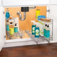 Finally, a way to organize and easily access those items hiding under sinks. Lynk Professional® Slide Out Under Sink Pull Out Drawer features an innovative reversible design that works on either the right or left side of the cabinet to fit in those tight spaces around your plumbing under sinks in your kitchen, bathroom, and laundry room. The top shelf includes a durable, removable tray to hold wet sponges and brushes. This 21 inches extra deep pull out organizer takes full advantage of the...