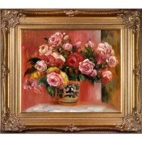 The hand-painted oil reproduction of a famous Renoir painting, Roses in a Vase. The original masterpiece was created in 1914. Today it has been carefully recreated detail-by-detail, color-by-color to near perfection. In the 1870s Renoir's Impressionist technique reached its peak, with glorious accomplishment. His fully defined technique rendered facial expressions and movements masterfully. Renoir often used his friends and acquaintances such as fellow artists and writers. He spent weeks and...