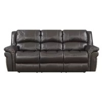 Style, comfort and durability describe this top grain leather touch 3 seat, dual lay flat reclining sofa. Featuring heavy duty 300 pound rated lay flat easy close mechanisms this sofa is ready for years of exceptional comfort. The lay flat mechanism allows full extension so you can really stretch out. All seats have individually pocketed coil seats encased in foam and topped with memory foam for maximum comfort and support. The backs are filled with resilient plush polyester fiber to create a...