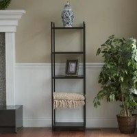 This etagere is a practical storage solution, and its chic modern industrial style makes it an easy addition to any space you want to elevate. This narrow etagere can be used to hold books, photos, storage bins or baskets, plants, or anything else you want to put on display! The freestanding etagere has a durable black steel frame and shelves made of high quality engineered wood. The shelf has rounded feet to help level the shelf and a laminate exterior in a distressed black faux wood design...
