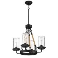 When it comes to outdoor decor, your lighting should embody a ruggedness capable of withstanding the elements. The artisan style of this chandelier uses bulbs protected in glass canisters and suspended from a pendant fixture wrapped in twisted rope. This is an outdoor lighting piece built to last.