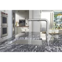 This product may just be the perfect faucet. From its rotating high arc spout, which swivels 140 degrees to the convenient dual pullout spray for easy cleanup, it is the ideal combination of quality and value.