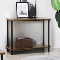 Bring life into your living room go from a bland living room to one with unforgettable style when you grab this spacious industrial style console table. The mix of urban metal and dark rustic wooden tones will bring warmth and character to any living room in any home. Undeniable workmanship with features like water-resistant engineered wood, spacious shelving, sturdy and durable steel pipe legs, and adjustable feet, this console table offers quality workmanship and traits at a cost-effective...