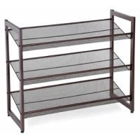 What does this metal shoe rack offer? A heavy-duty shoe shelf composed of the durable metal side frame, one integral, much stable; and dense metal mesh shelves. Two racks can be stacked a 6-tier rack to well organize your plenty of shoes. You can place this shoe rack wherever you want, like the entryway, bedroom, closet under hanging clothes, your office and so on. Thoughtful design metal mesh shelves protect heels and kids' small shoes from sinking, adjuster's feet provided for better...
