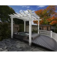 Nothing defines an outdoor room like a pergola! Perfect for encasing a hot tub or patio set, this 12' square pergola showcases a traditional look with a louvered roof. Made from weather-resistant vinyl, this pergola is virtually maintenance-free: Just the occasional rinse with a garden hose is all you'll need to do to keep your pergola looking great year after year. Two-person assembly is required.