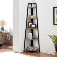 A great way to save space and add style to your living room or dining area, this versatile bookcase fits perfectly in any corner. Crafted from metal, its three-beam frame gives this piece a sleek look, while the wood-style shelves add a touch of traditional flair. More than just a stylish accent piece, this corner bookcase features five shelves crafted from engineered wood that holds all your favorite items while also acting as a space-saver to help clear up the clutter.