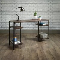 """Simplicity and style. That's what this desk from this collection will bring to your home office. It features sturdy, 1"""" thick shelves and tabletop, ideal for all your office essentials, laptop, lamp, books and more! finished on all sides with a powder-coated metal frame, this transitional desk will bring an industrial edge to your office."""