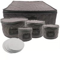 Rebrilliant set of 5 dinnerware storage set will prevent your China or crystal dinnerware from cracking and chipping when not in use. Easy loading from the top makes it hassle-free to store your plates and cups away after the special occasion. Set includes felt liners to be used between the plates to prevent damage. Do you like to take your dinnerware on the road for the holidays? This set will make it easy to travel with your special occasion dinnerware by protecting is safely while in...