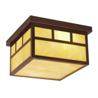 Flat strips of burnished bronze outline honey opal glass panes in the Mission collection. The simple design of this fixture has a mission style look perfect for Frank Lloyd Wright prairie inspired decors. This outdoor ceiling light is ideal for your covered porch, entryway, or any other area of your home.